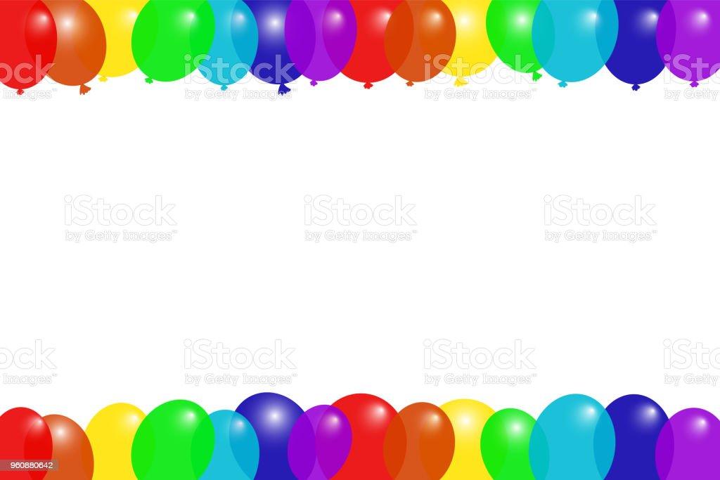 Bunten Fliegenden Ballons Rahmen Grußkartenvorlage Horizontale ...