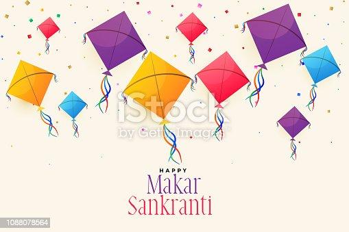 colorful flying kites for makar sankranti festival