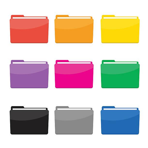colorful folder icons set vector - ring binder stock illustrations