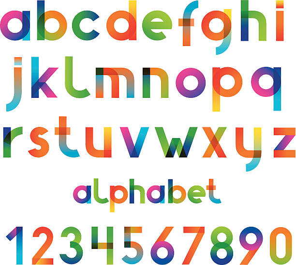 Colorful font and numbers collection The software used to create: AI CS2 alphabet designs stock illustrations