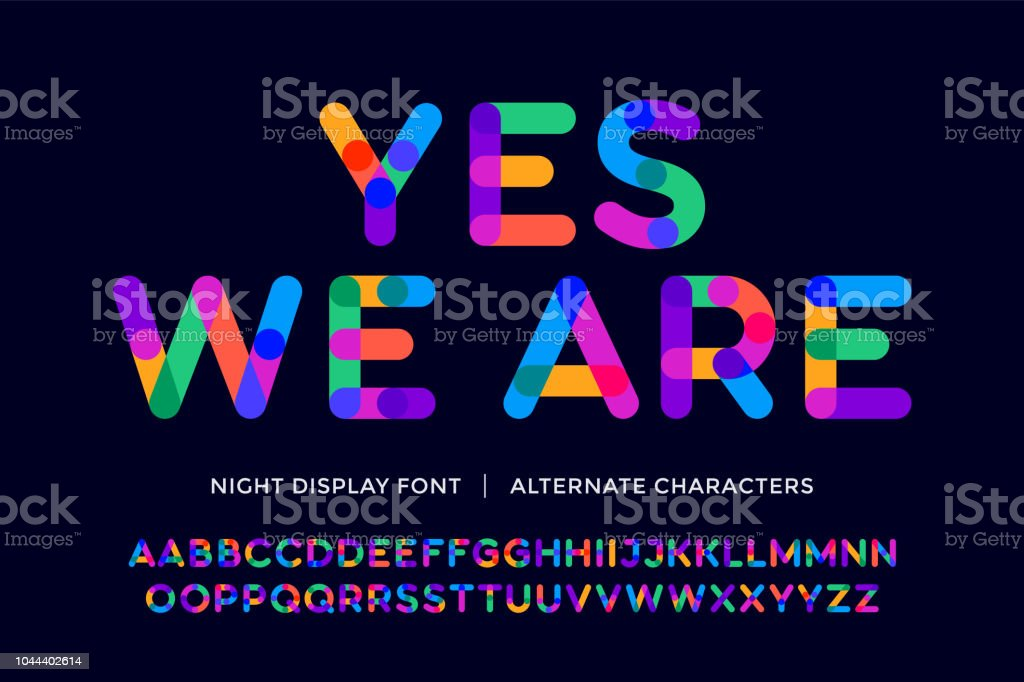 Colorful font. Colorful bright alphabet and font Colorful font. Colorful bright alphabet and font. Emotional bold uppercase color letters. Type, typography letter latin font. Hand-drawn modern narrow font for headline, text. Vector Illustration Alphabet stock vector