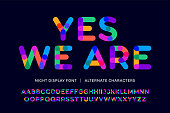 Colorful font. Colorful bright alphabet and font. Emotional bold uppercase color letters. Type, typography letter latin font. Hand-drawn modern narrow font for headline, text. Vector Illustration