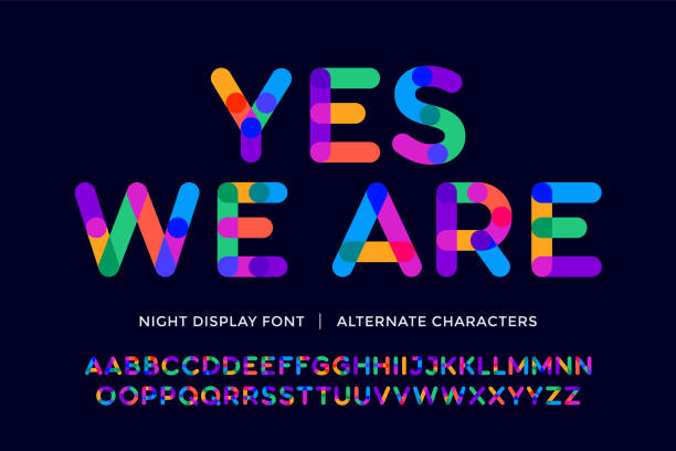 Colorful font. Colorful bright alphabet and font Colorful font. Colorful bright alphabet and font. Emotional bold uppercase color letters. Type, typography letter latin font. Hand-drawn modern narrow font for headline, text. Vector Illustration youth culture stock illustrations