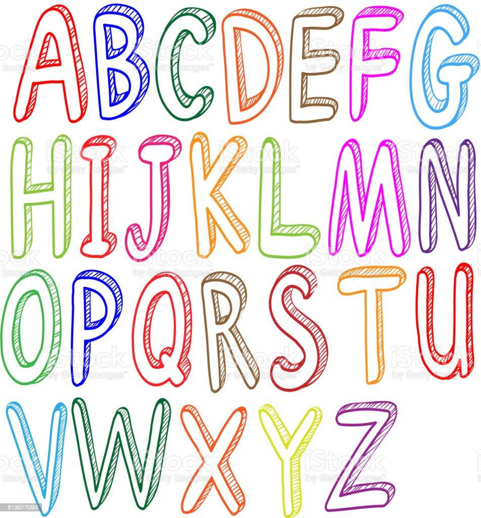 Colorido estilos de tipos de letra do alfabeto arte for Estilos de letras