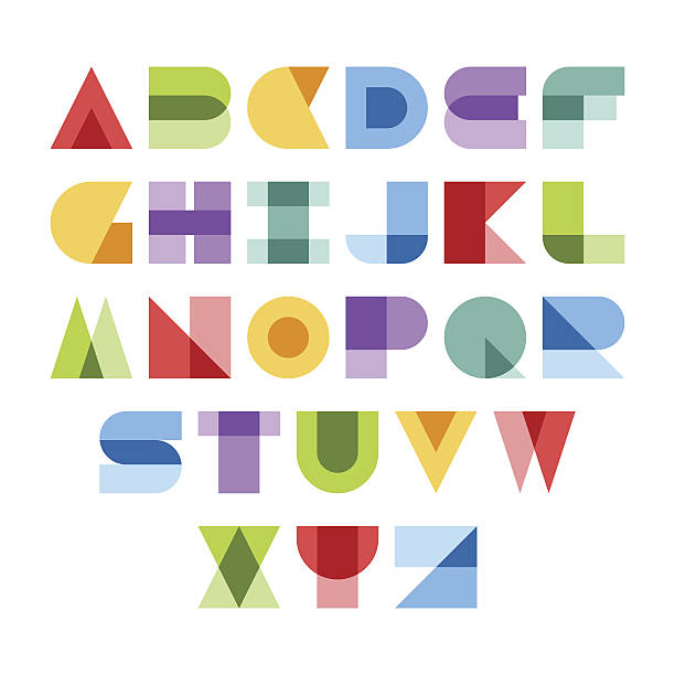 Colorful font Design elements. Vector illustration of colorful abstract letters. alphabet clipart stock illustrations