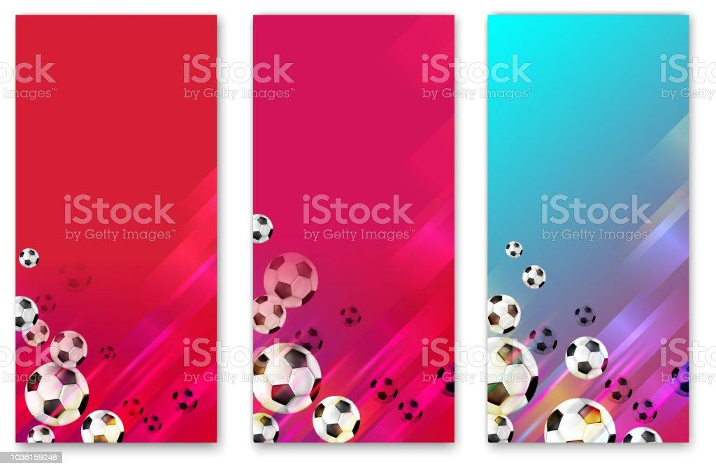 Fundos de futebol colorido com bolas de futebol. - ilustração de arte em vetor