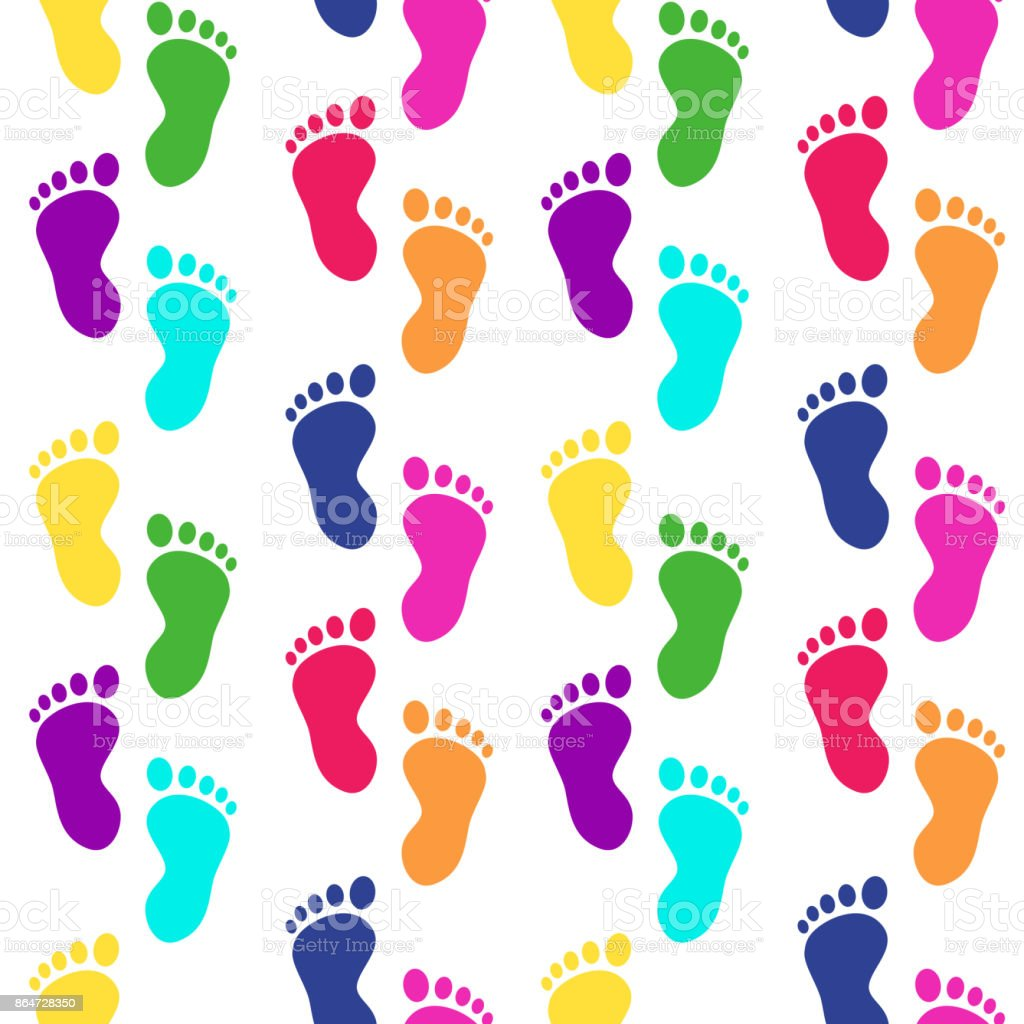 Colorful footsteps. Traces of feet barefoot. Seamless pattern with children's footprints. Vector vector art illustration
