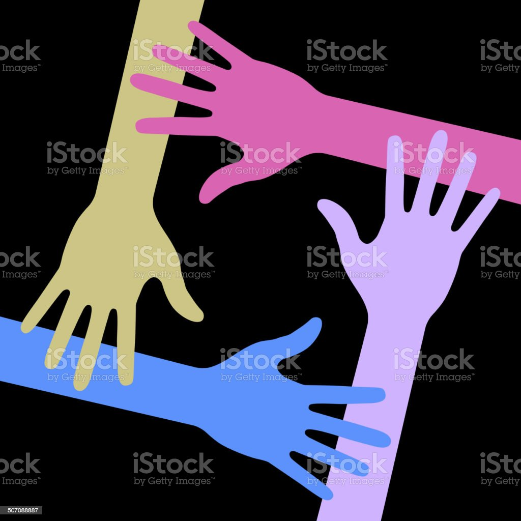 Colorful Four Hands Icon on black background vector art illustration