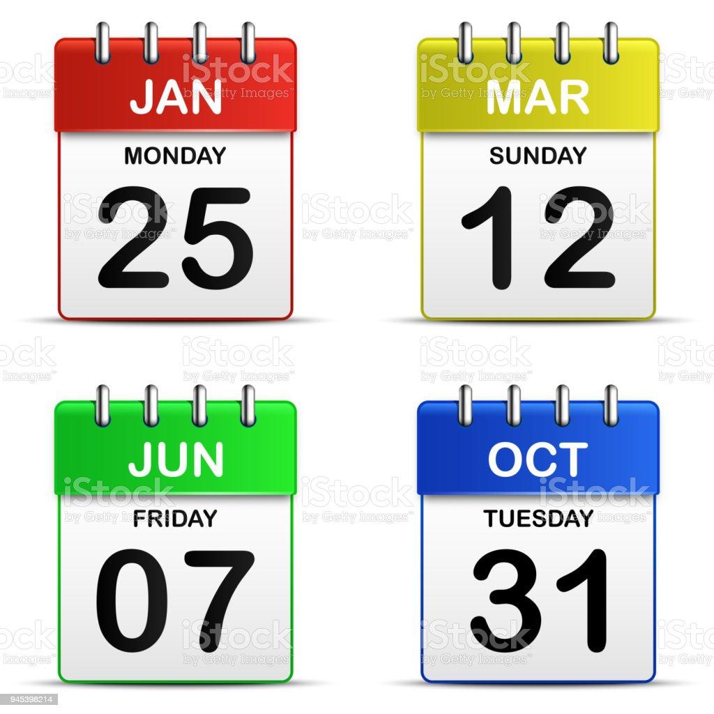 Bunte vier abreißen Kalendersymbol 3d für Vektor-Grafik Idee-Design-Konzept – Vektorgrafik