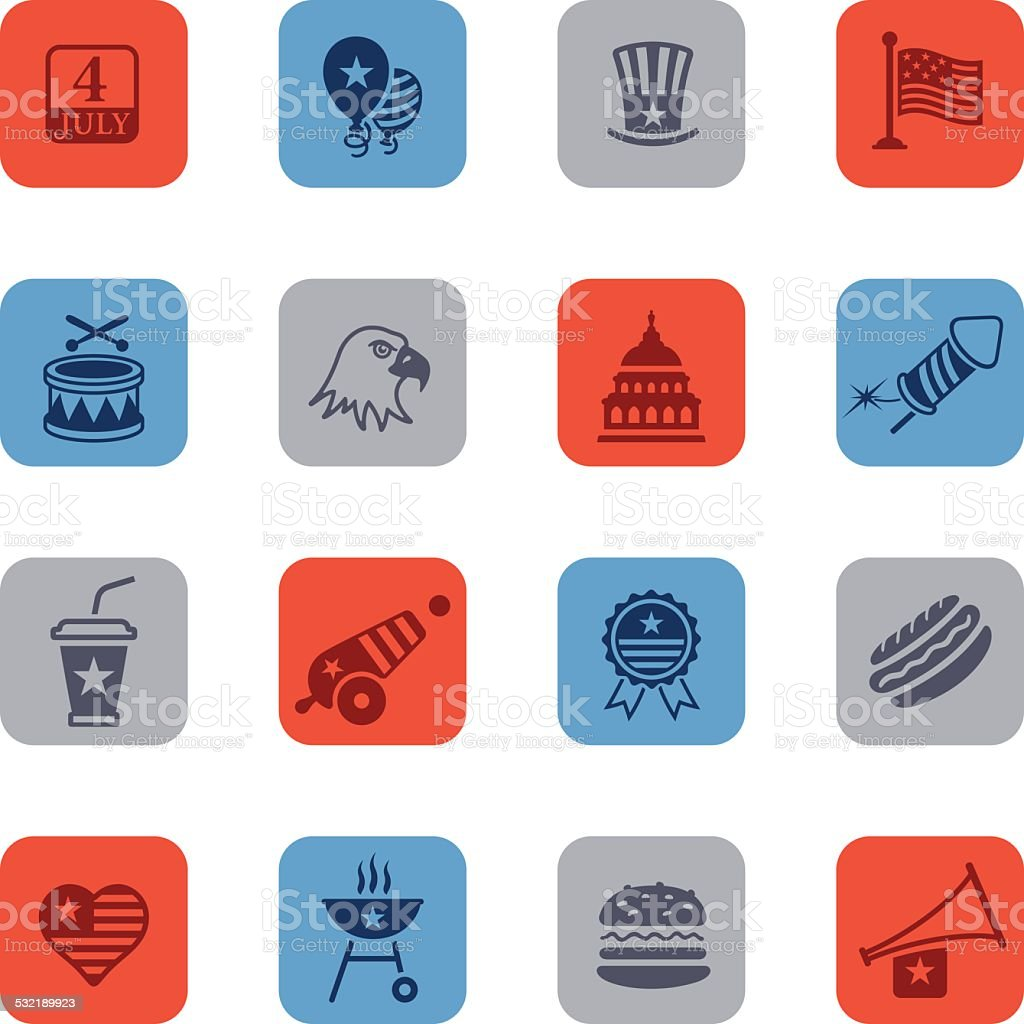 Colorful Fourth of July Icon Set vector art illustration