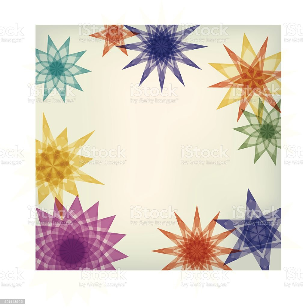 Colorful frame with tissue paper stars vector art illustration