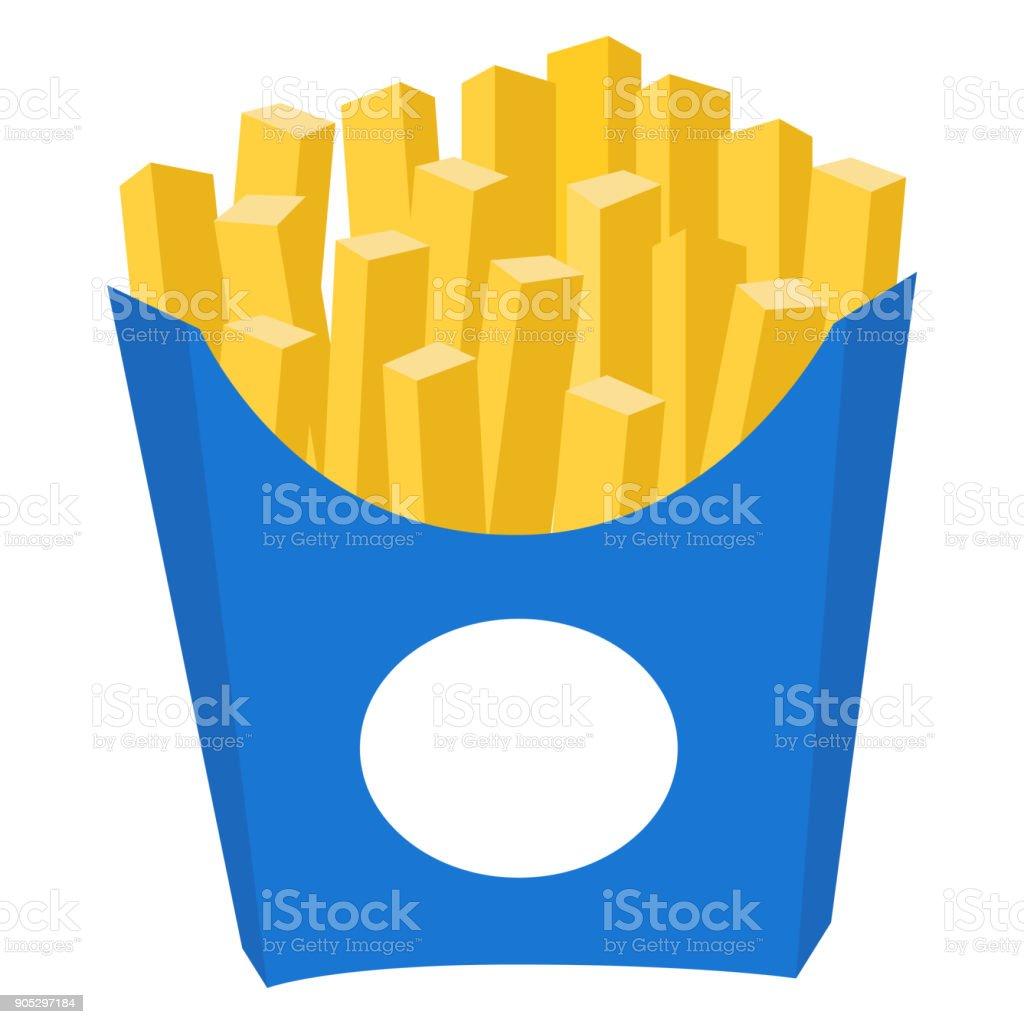Cartaz de ícone colorido batata frita batata frita fast-food - ilustração de arte em vetor