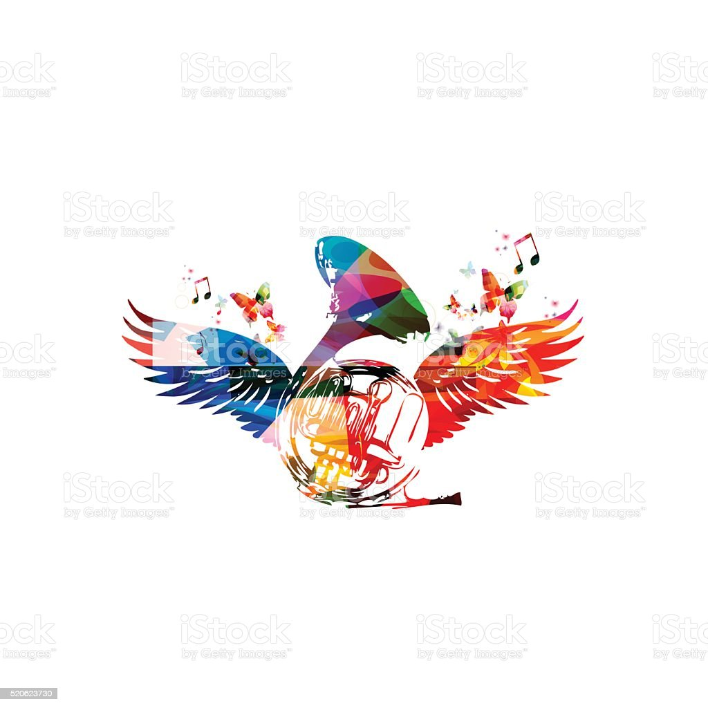 Colorful french horn with wings vector art illustration