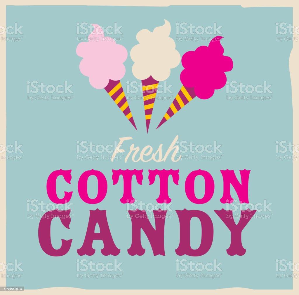 Colorful Fresh Cotton Candy emblem design template vector art illustration