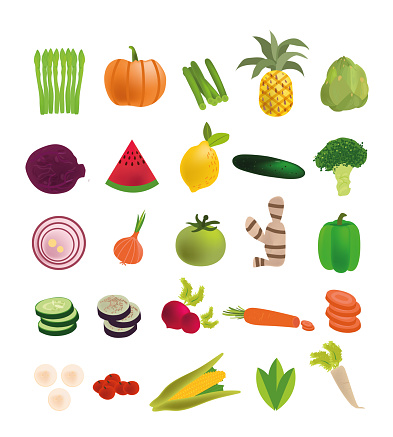 Colorful fresh fruit and vegetables stock illustration set isolated on white background. Simple set of outline icons about healthy food, diet nutrition. Flat design Icon vector stock illustration collection can be used for farm product designs.