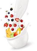 Colorful fresh fruit  falling into the milk splash. Vector illustration