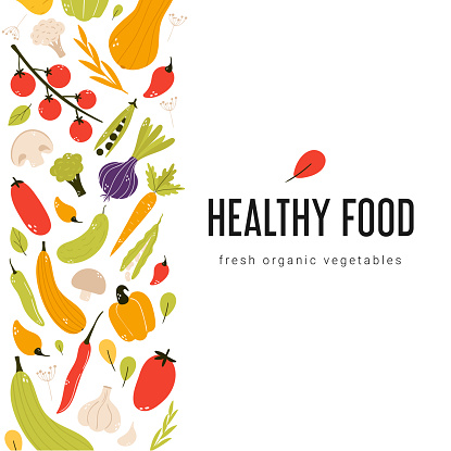 Colorful fresh vegetable square banner.