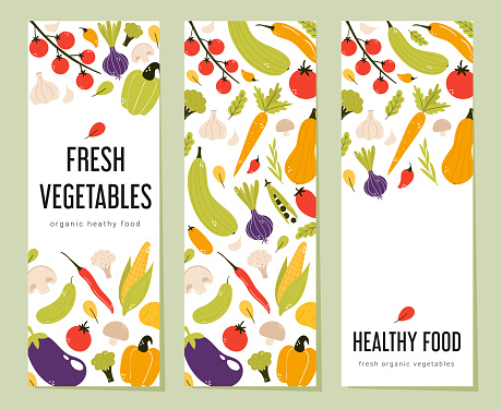 Colorful fresh vegetable vertical banner collection.
