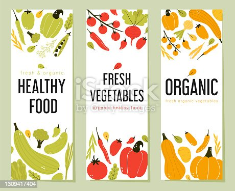 istock Colorful fresh vegetable vertical banner collection. 1309417404