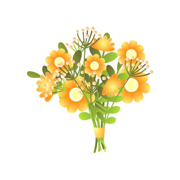 stockillustraties, clipart, cartoons en iconen met kleurrijk vers geel bloomy bloemenboeket dat op wit wordt geïsoleerd - meeldraad