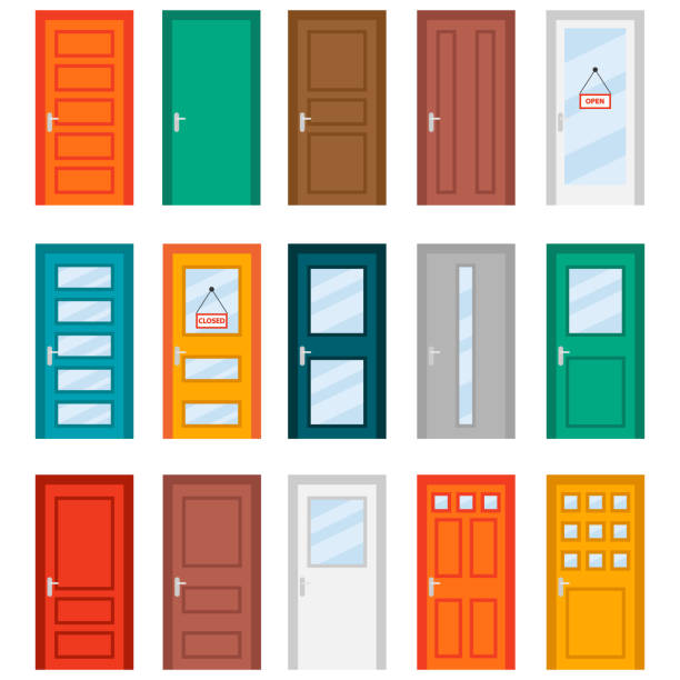 illustrazioni stock, clip art, cartoni animati e icone di tendenza di colorful front doors to houses and buildings set in flat design style. set of color door icons, vector illustration. colourful realistic front doors collection - portoni