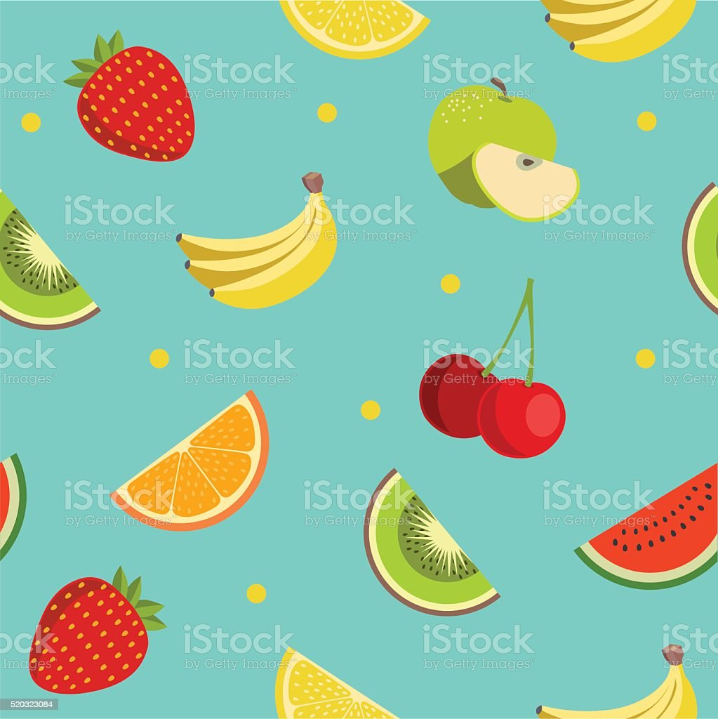 Colorful fruit pattern in flat design style. Seamless vector. vector art illustration