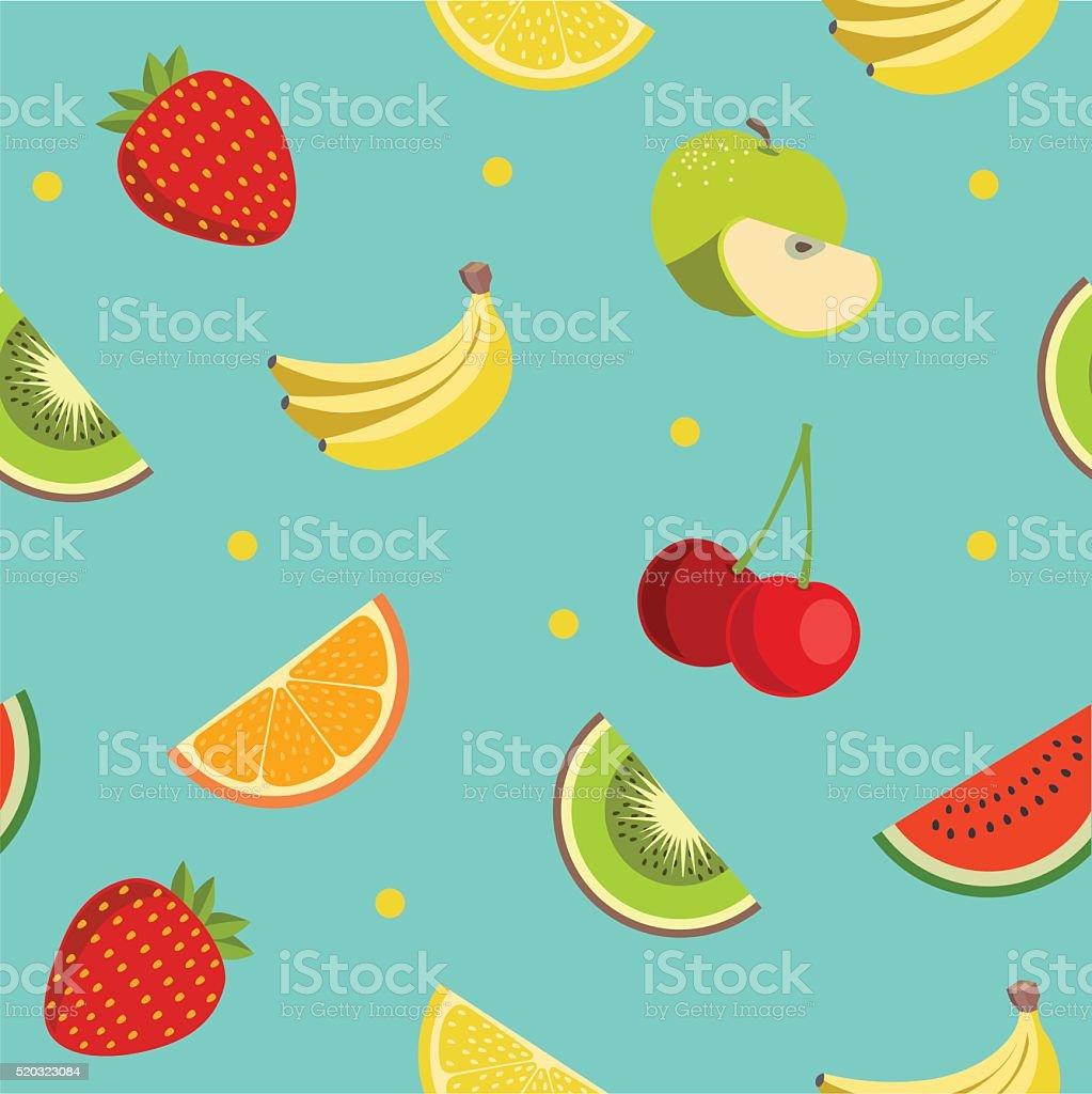 Colorido frutas patrón en estilo diseño plano. Sin costura Vector de. - ilustración de arte vectorial