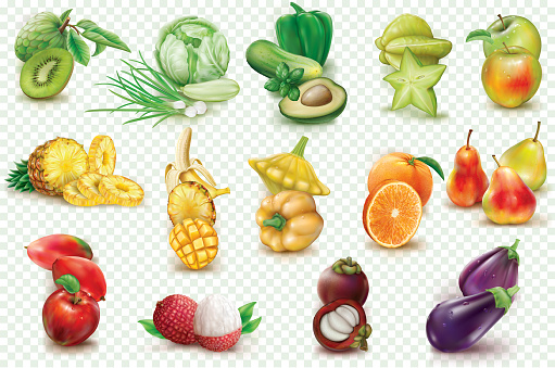Colorful Fruits And Vegetables On A Transparent Background ...