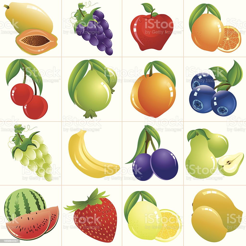 Colorful Fruits/ Icon Set vector art illustration