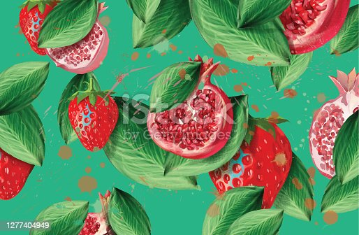 Illustration of colorful fruit background with pomegranate and strawberry