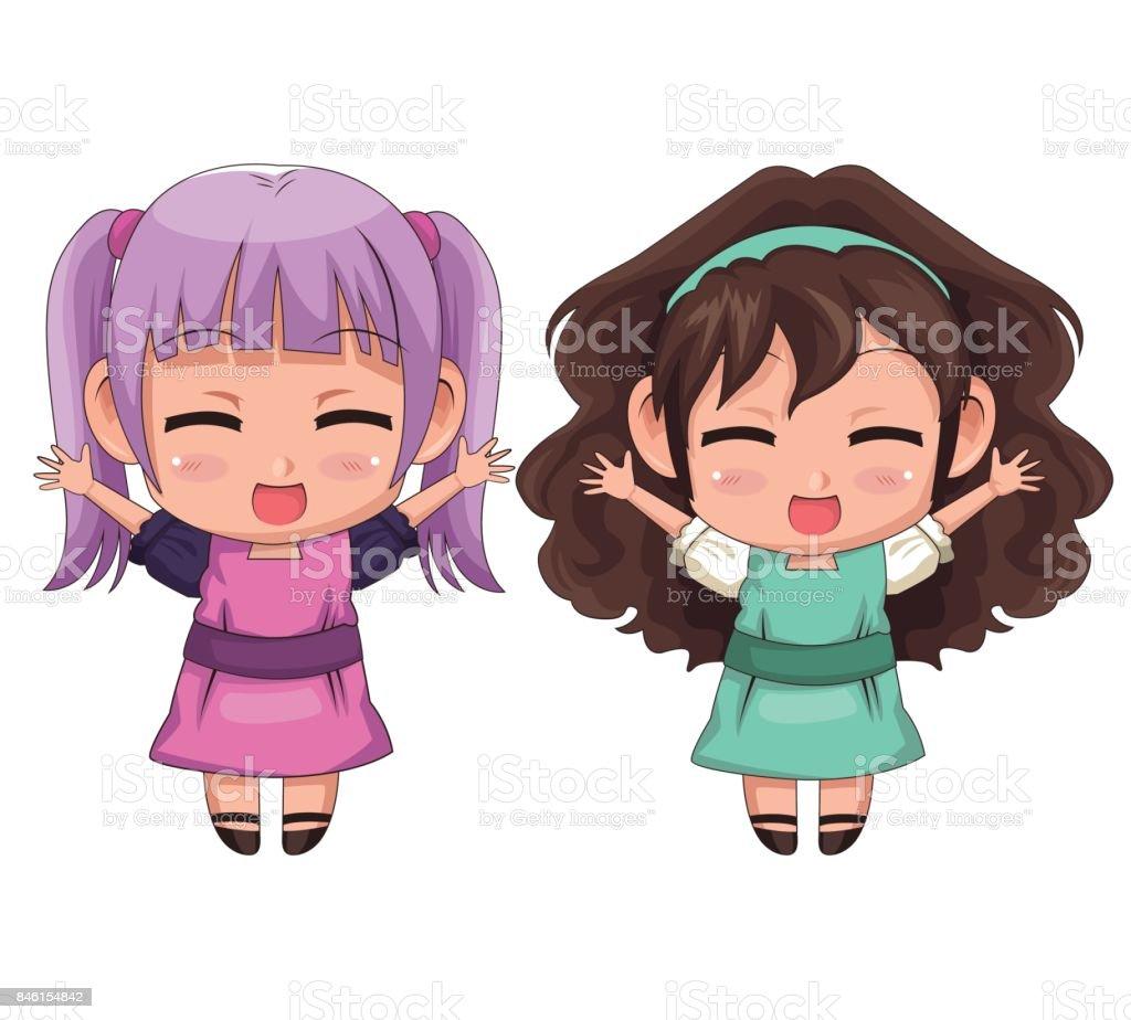 カラフルな全身カップルかわいいアニメの女の子の表情笑顔とジャンプ - 1