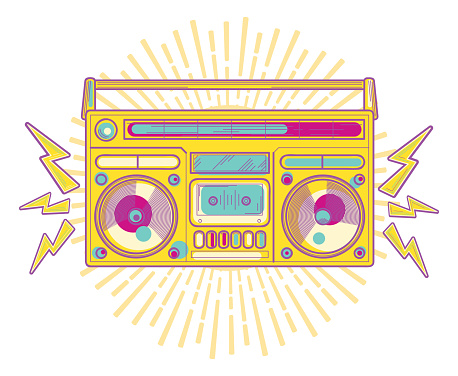 Colorful funky boom box