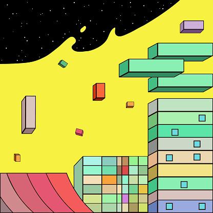 Colorida ciudad futurista en estilo de dibujos animados. Ilustración vectorial.