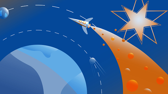 Colorful futuristic space illustration - Rocket flies over a planet.
