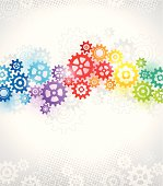 Multi colored techno background with gears.