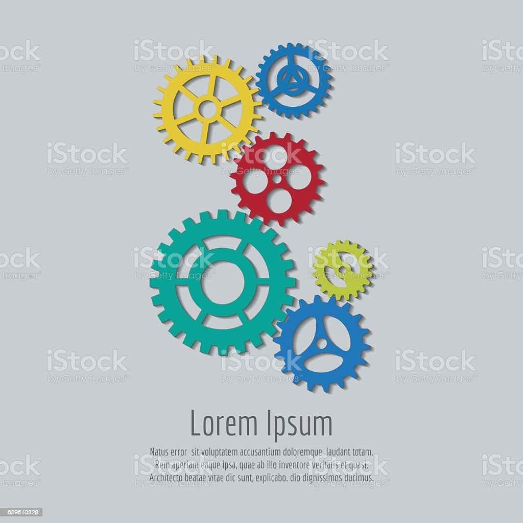 Colorful gears icons background design vector art illustration