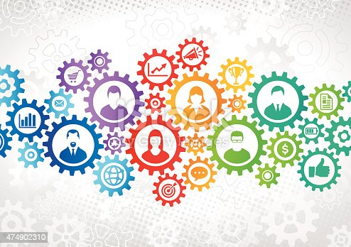 Multi colored connected gears. In big gears are icons with business people working with each other. Smaller gears around them symbolizing business strategy, success, teamwork, communication concepts. In the background is gray halftone and gray gears.