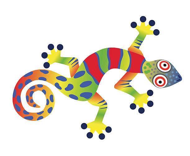 colorful gecko lizard - gecko stock illustrations, clip art, cartoons, & icons