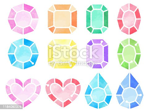 This is a watercolor style illustration set of colorful gemstones of various shapes (single cut, emerald cut, heart shape, drop shape, etc.).