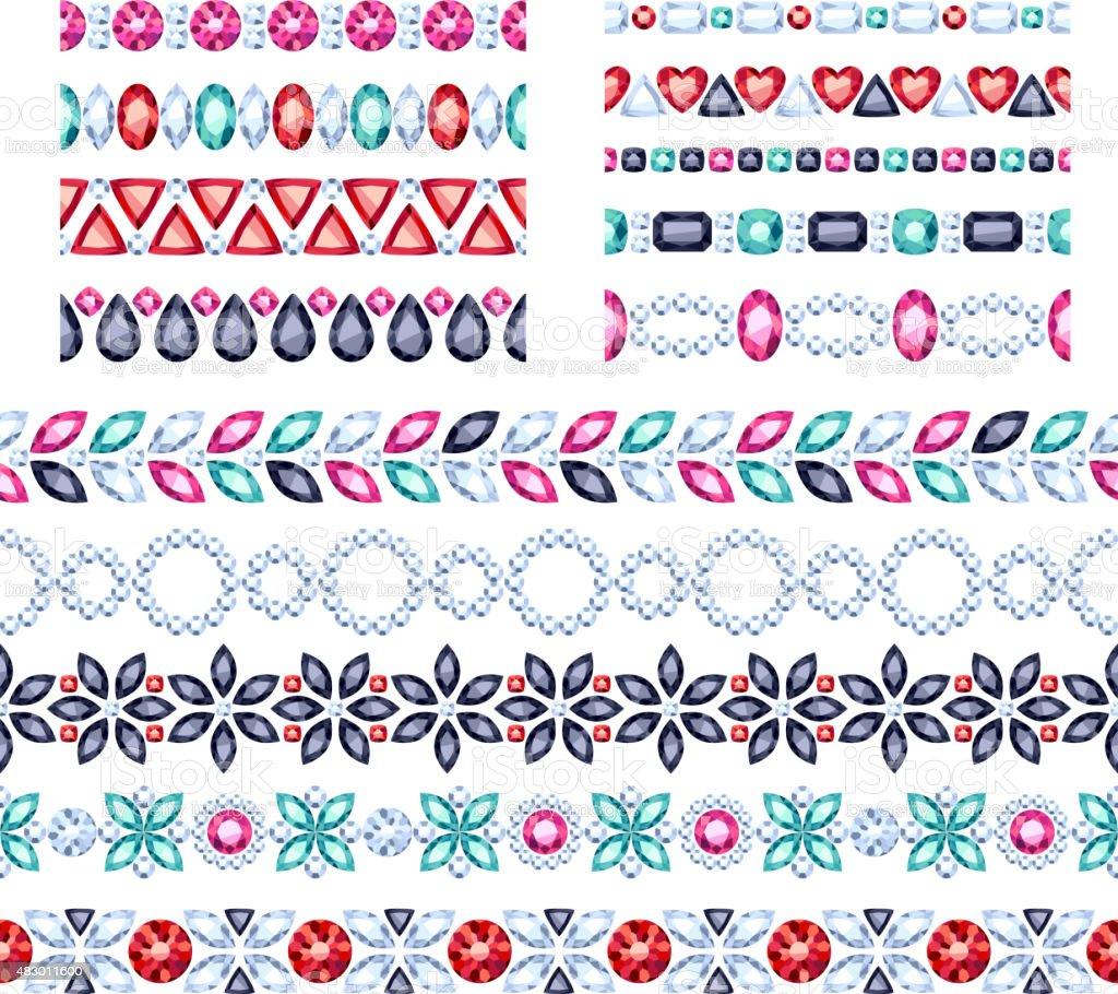 Colorful gemstones seamless horizontal borders set vector art illustration