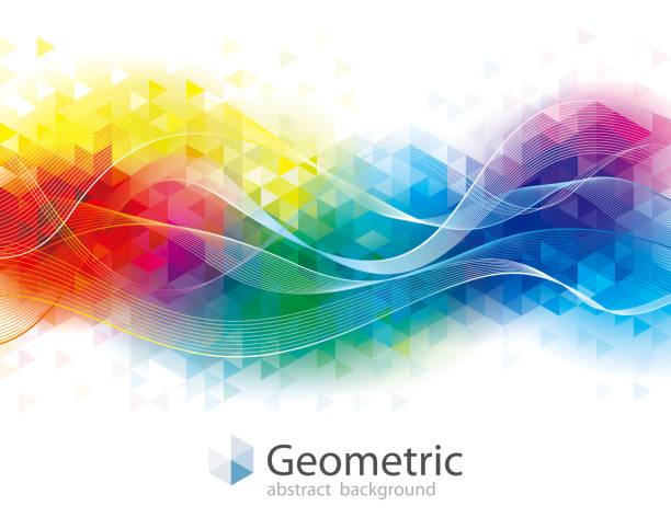 bildbanksillustrationer, clip art samt tecknat material och ikoner med färgglada geometriska och wave bakgrund - flerfärgad