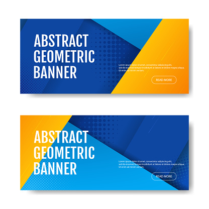 Colorful geometric banner background in blue and yellow. Universal trend of halftone geometric shapes. Modern vector illustration.