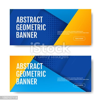Colorful geometric banner background in blue and yellow. Universal trend of halftone geometric shapes. Modern vector illustration