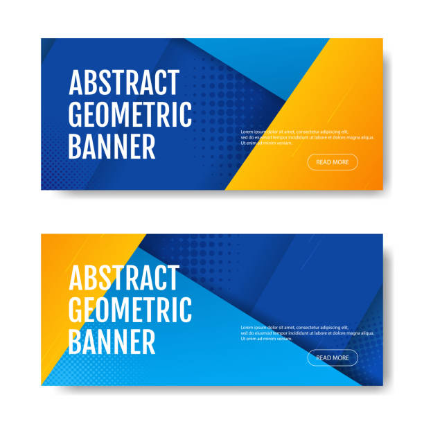 Colorful geometric banner background in blue and yellow. Universal trend of halftone geometric shapes. Modern vector illustration. Colorful geometric banner background in blue and yellow. Universal trend of halftone geometric shapes. Modern vector illustration banner ads templates stock illustrations