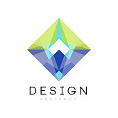 colorful geometric logo template abstract diamondshaped icon in