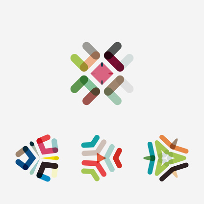 colorful geometric pattern icon collection