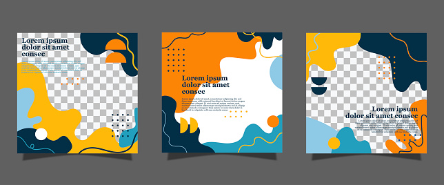 Colorful geometric shapes social media post and stories design