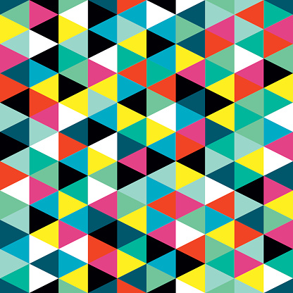 Colorful Geometric Triangles Wall Mural Stock Vector Art & More Images of Abstract