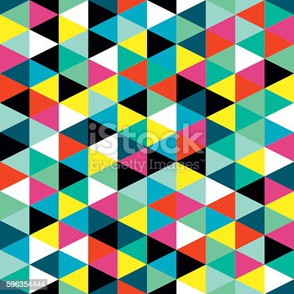 Colorful Geometric Triangles Wall Mural Stock Vector Art & More Images of Abstract 596354444