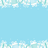 Colorful Gift box on blue background.